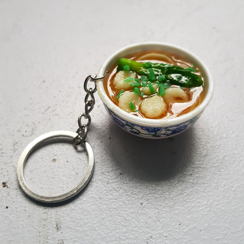 Noodle Soup Bowl Keychain (shrimp)