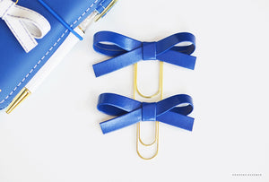 Blue Aegean Original and/or Baby Alice Faux Leather Bow Clips