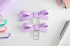 Lavender Original and/or Baby Alice Faux Leather Bow Clips