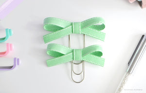 Mint Original and/or Baby Alice Faux Leather Bow Clips