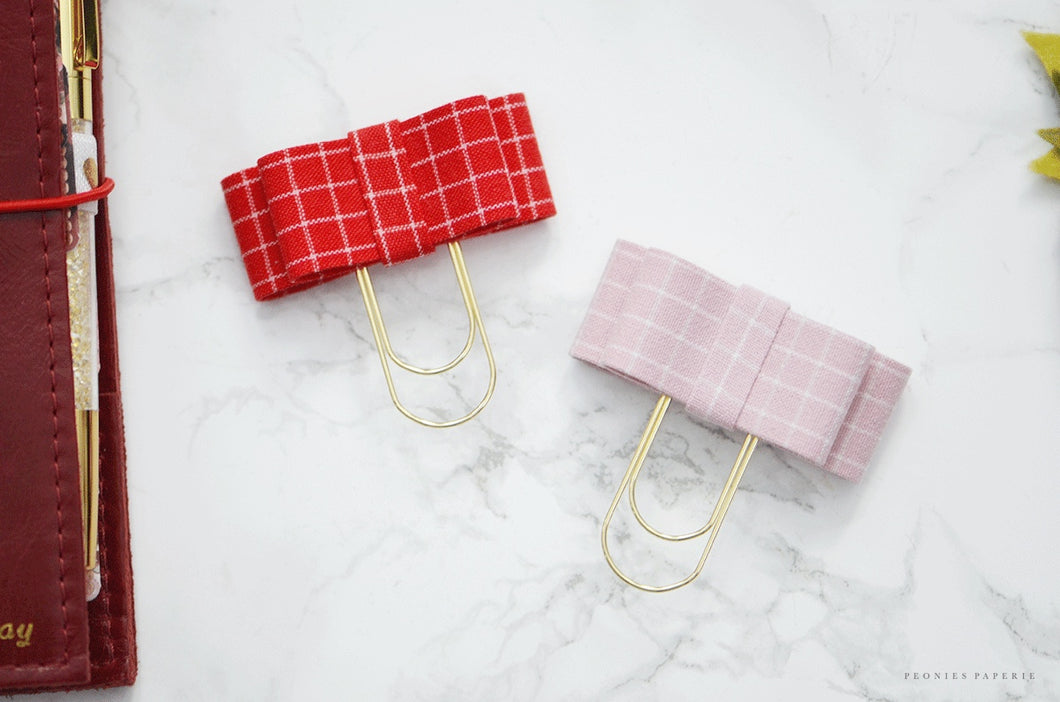 The Bailey Plaid Collection: Audrey Bow Clip in Pink & Red