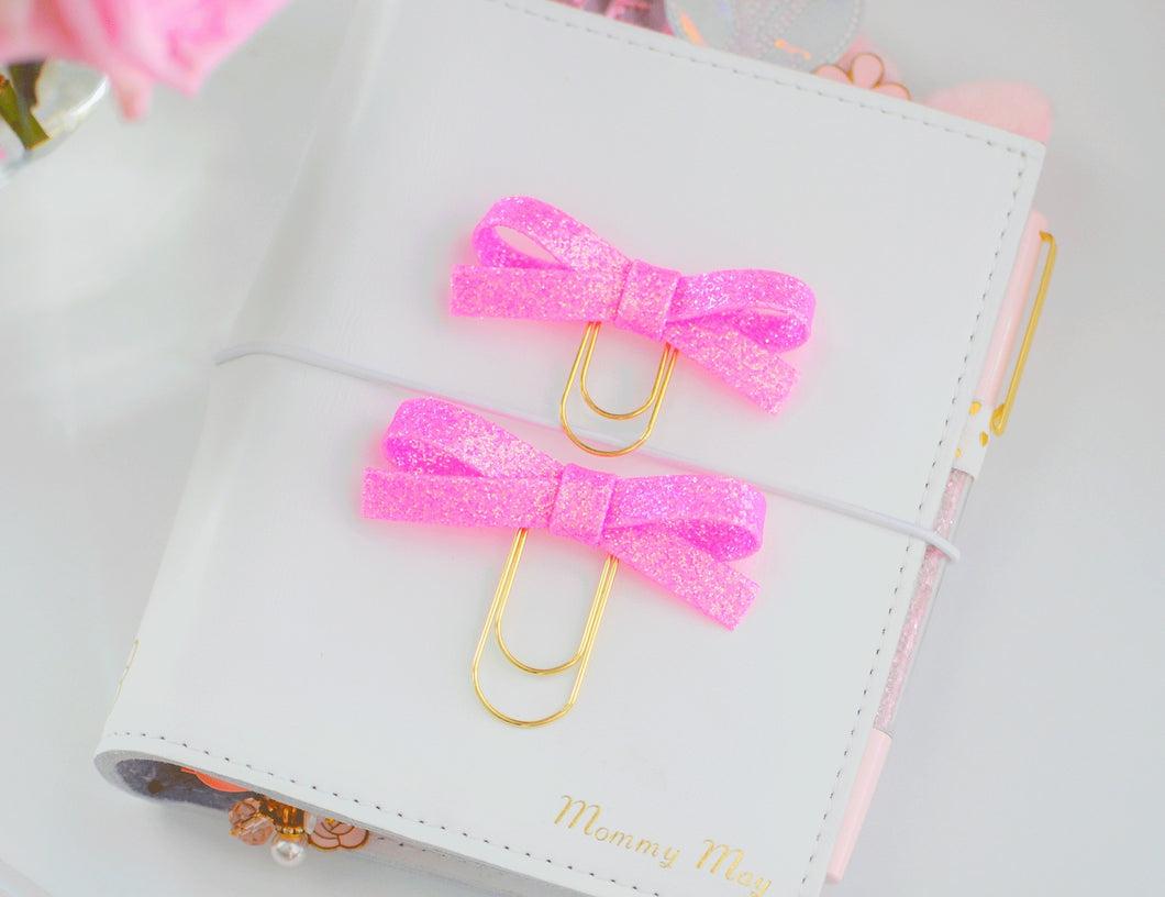 Hot Pink Glitter Alice Bow Clips