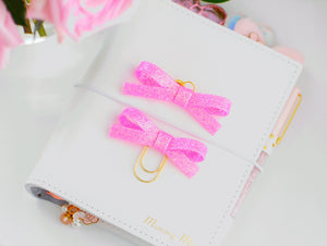 Hot Pink Glitter Alice Bow Planner Charm