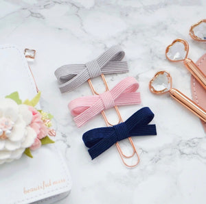 Ash, Baby Pink and Navy Corduroy Alice Bow Trio