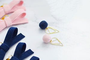 Pink and Navy Sweater Pom Poms Paper Clip Dangles