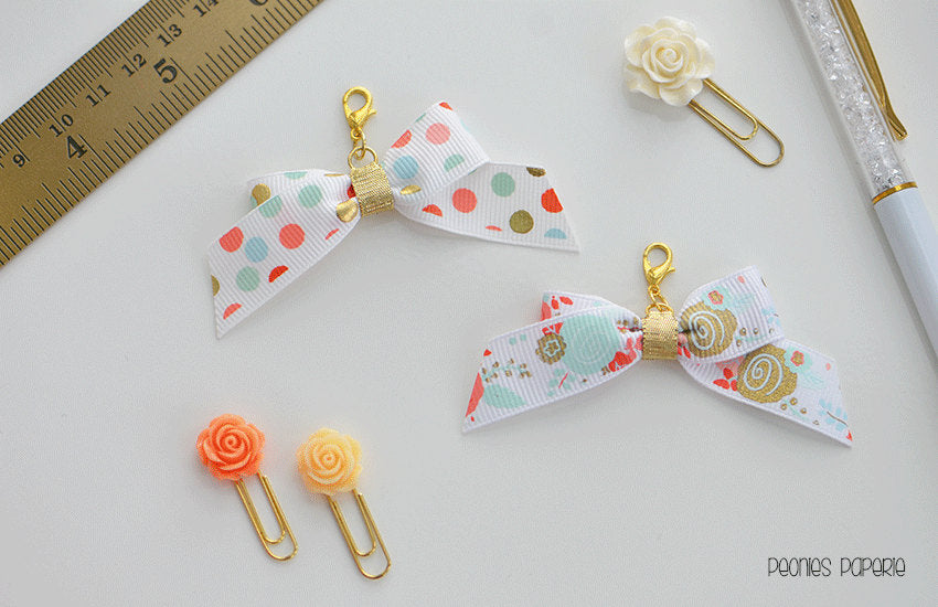 Mint & Coral Floral and Polka Dot  Tiny Bow Planner Charm for your Travelers Notebook Chic Sparrow Foxy