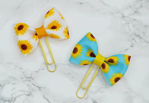 Sunflower Ava Bow on Gold Paper Clips Planner Clips For Your Kate Spade Erin Condren Filofax Kikki K