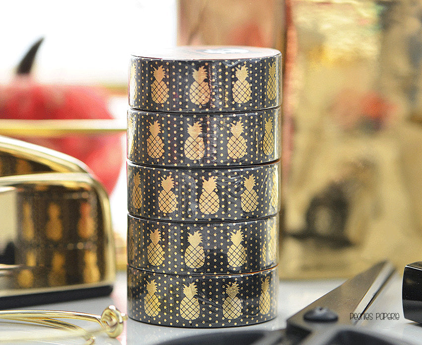 Gold Foiled Pineapples on Black Washi Tape