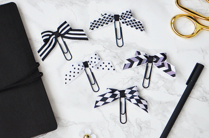 Black and White Bow Paper Clips Planner Clips For Your Kate Spade Erin Condren Filofax Kikki K