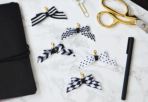 Black and White Tiny Bow Planner Charm for your Travelers Notebook Chic Sparrow Foxy