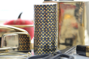 Foiled Gold Hearts on Black Washi Tape