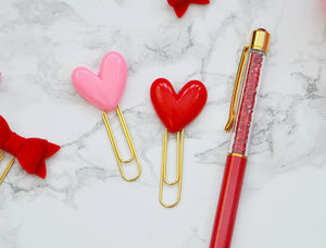 Valentine's Day Pink & Red Hearts Resin Planner Paper Clips Set for Your Erin Condren Filofax Kikki K Planner Accessories