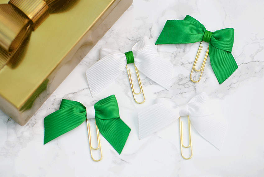 Green & White Bow Paper Clips Planner Clips For Your Kate Spade Erin Condren Filofax Kikki K