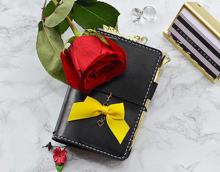 Beauty and the Beast Belle Yellow Satin bow w/Heart Charm Travelers Notebook Chic Sparrow Foxy or Erin Condren