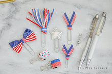 Patriotic Star Spangled Red White & Blue July Planner Clip and Charm Set w/Pen Loops