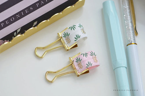 Gold Pineapples on White and Pink Pen Loops Set Planner Accessories Travelers Notebook