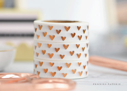 Rose Gold Hearts Foiled Washi Tape Planner Accessories for your Kate Spade Erin Condrin Filofax Foxy Fix