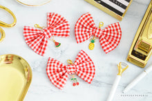 Red Gingham Fabric Bow w/Summer Fruit Charm Travelers Notebook Foxy Fix Chic Sparrow or Erin Condren