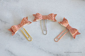 Rose Sparkles Stella Bow Paper Clips Planner Clips for Your Erin Condren Filofax Kikki K Planner Accessories Foxy Fix