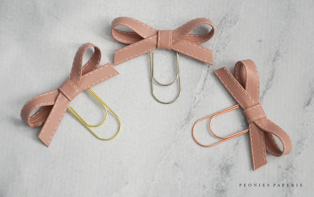 Blush Alice Faux Leather Bow Paper Clip