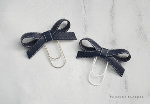 Navy Alice Faux Leather Bow Paper Clip