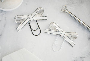 White Tie Alice Faux Leather Bow Paper Clip White with Black Stitch