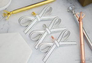 Aspen All White Alice Faux Leather Bow Paper Clip