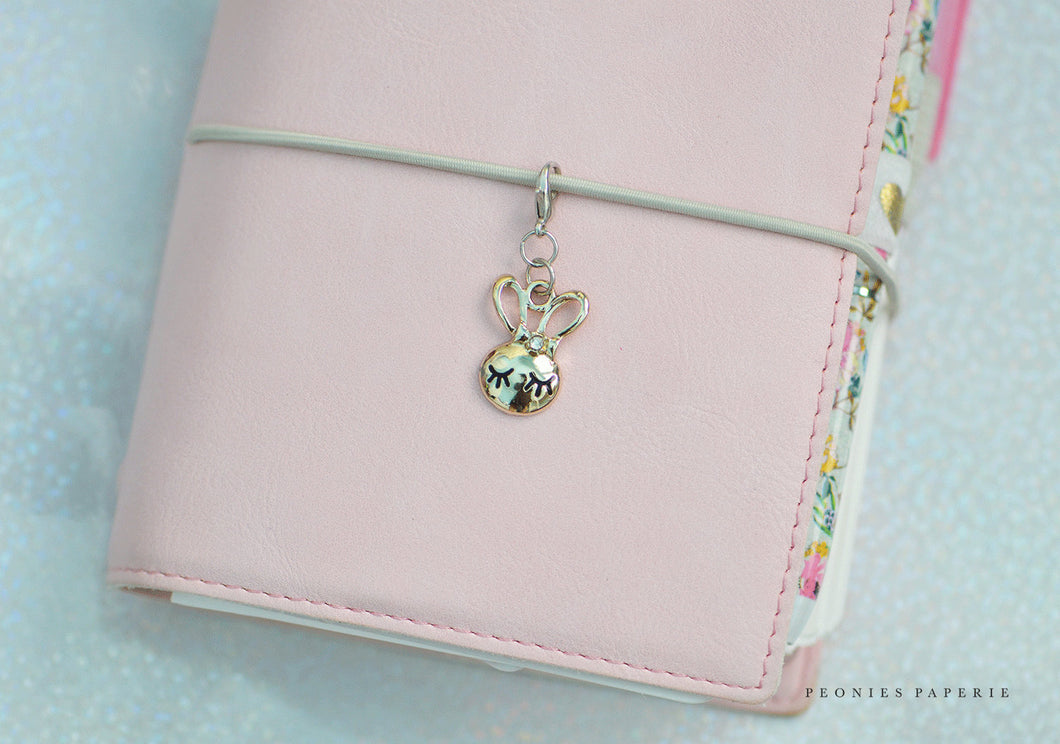 Sweet Bunny Lashes Midori Charm or ADD-ON to Bow Planner for your Travelers Notebook Foxy Fix
