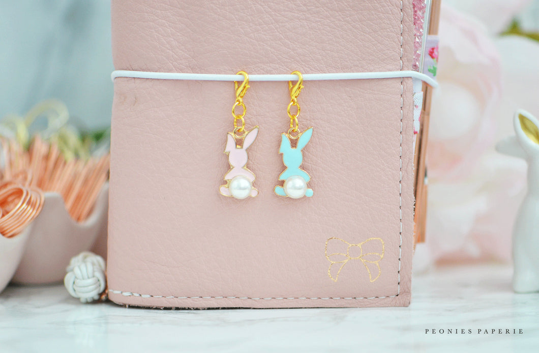 Pearl Bunny Tails Charm for Midori or Travelers Notebook Foxy Fix