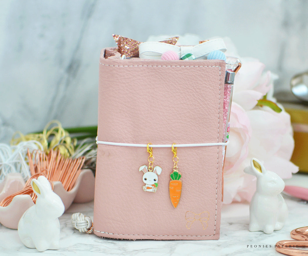 Cute Bunny or Giant Carrot Midori Spring Easter Planner Charm for your Travelers Notebook Foxy Fix