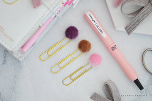 Fuzzy Pom Pom Trio Paper Clip Dangles Planner Accessories Travelers Notebook