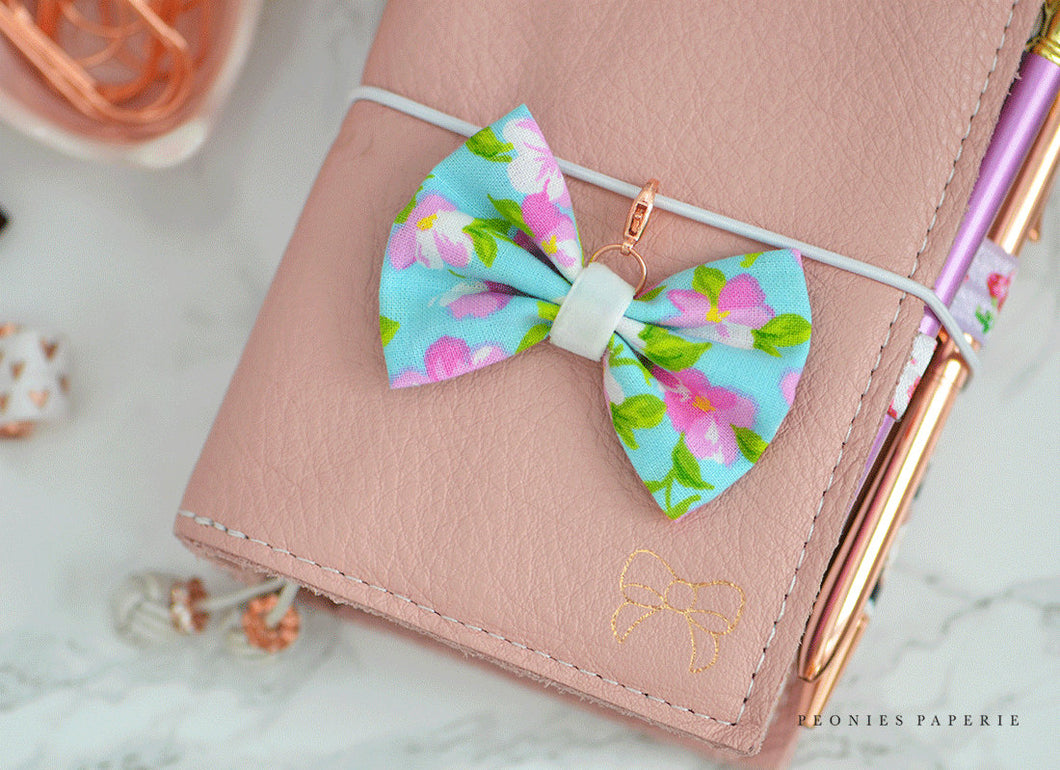 Spring Blossoms Big Fabric Bow Charm or Paperclip Traveler's Notebook Foxy Fix Kate Spade Erin Condren Midori