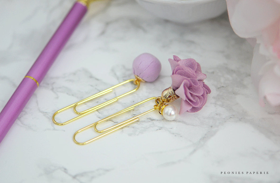 Lilac Satin and Pearls Pom Pom Paper Clips Planner Accessories Travelers Notebook