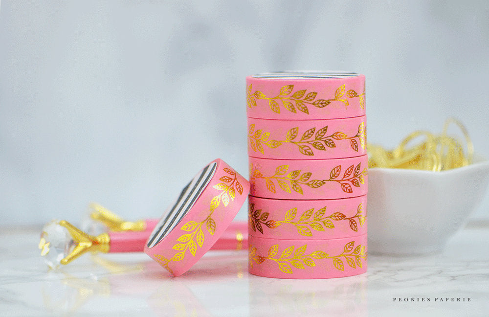 Beautiful Pink w/Gold Leaf Foiled Washi Tape