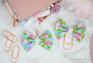 Spring Blossoms Fabric Bow Charm or Paperclip Traveler's Notebook Foxy Fix Kate Spade Erin Condren Midori