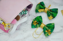 St. Patty's Gold Shamrocks Fabric Bow Charm or Paperclip Traveler's Notebook Foxy Fix Kate Spade Erin Condren Midori