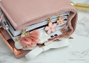 Pink Daisy Paper Clip Dangles Charms Set or Midori Planner Accessories Travelers Notebook