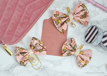 Pink Magnolia Fabric Bow w/Pearl Charm or Paperclip Travelers Notebook
