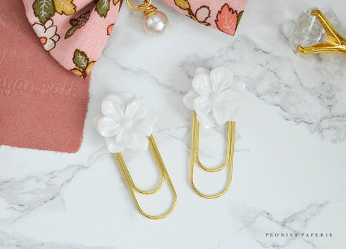 Set of 2 Camellia Resin Flowers on Gold Planner Paper Clip for Your Erin Condren Filofax Kikki K Planner Accessories