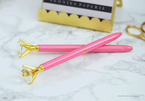Bubble Gum Pink and Gold Diamond Pen