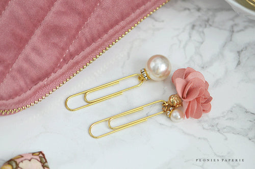 Pink Satin and Pearls Pom Pom Dangle Paper Clips