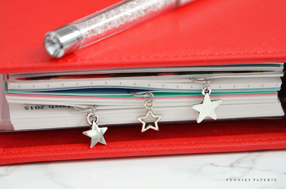 Tiny Silver Stars Trio Paper Clip Dangles Charms Set Planner Accessories Travelers Notebook