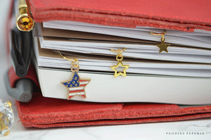 Patriotic Stars Gold Paper Clip Trio Dangles Charms Set Planner Accessories Travelers Notebook