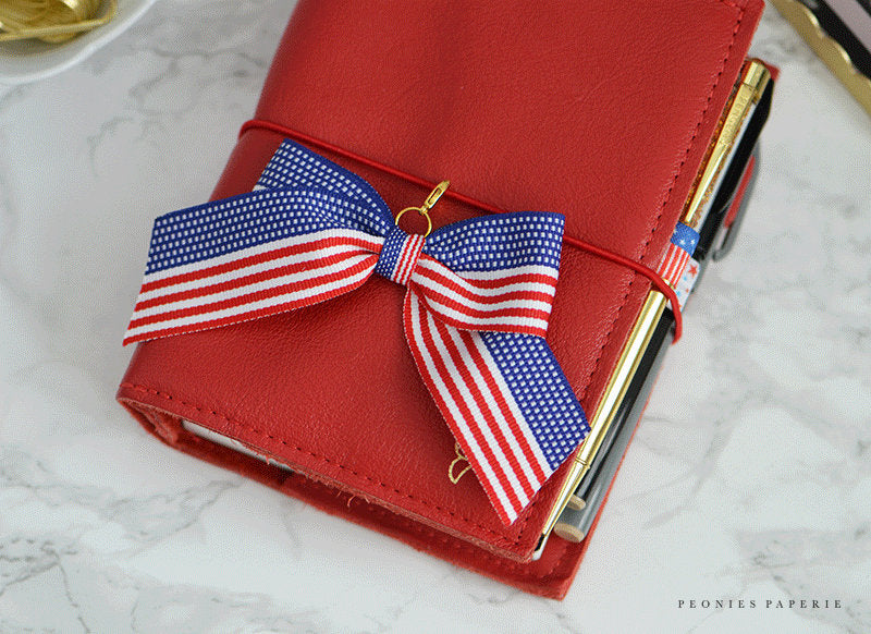 American Flag Big Bow Planner Charm for your Travelers Notebook Foxy Fix TN
