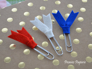 Red, White & Blue Felt Flags Planner Paper Clips for Your Erin Condren Filofax Kikki K Planner Accessories