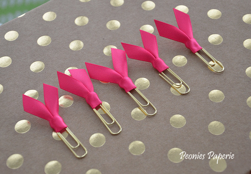 Hot Pink Satin Mini Planner Paper Clips for Your Erin Condren Filofax Kikki K Planner Accessories Page Markers Teachers
