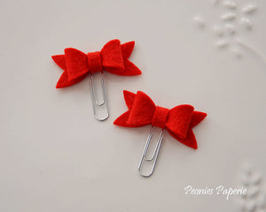 Red Petite Felt Bow Set on Silver or Gold Paper Clips Planner Clips for Your Erin Condren Filofax Kikki K Planner Accessories