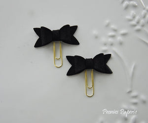 Black Petite Felt Bow Set on Gold or Silver Paper Clips Planner Clips for Your Erin Condren Filofax Kikki K Planner Accessories