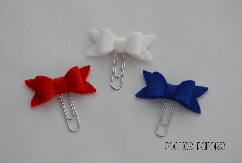 Red, White & Blue Petite Felt Bow July Set Paper Clips Planner Clips for Your Erin Condren Filofax Kikki K Planner Accessories