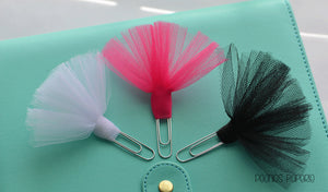 Tutu Tulle on Silver Paper Clip Planner Clip Bookmark for Your Erin Condren Filofax Kikki K Planner Accessories Supplies